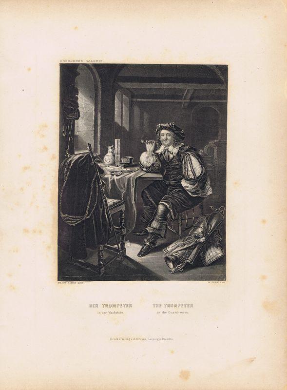 Гравюра Уильям Френч Трубач в караульном помещении. Офорт. США, Бостон, 1873 год редакция газеты собеседник собеседник 48 2014