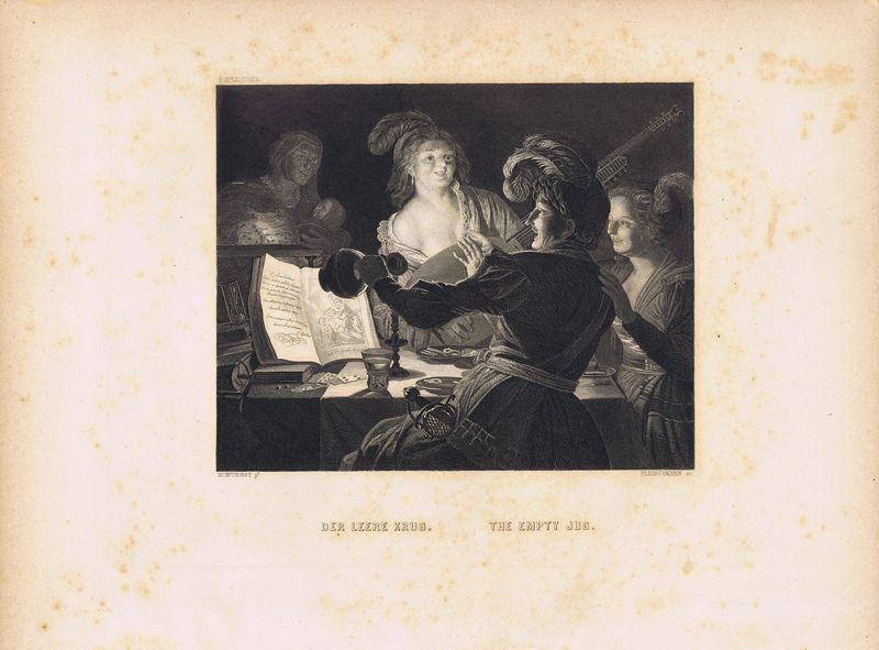 цена на Гравюра Андреас Фляйшман Пустой кувшин. Офорт. США, Бостон, 1873 год