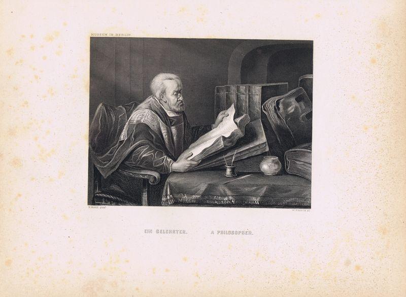 Фото - Гравюра Уильям Френч Учёный (философ). Офорт. США, Бостон, 1873 год гравюра уильям френч мадонна в зелени офорт сша бостон 1873 год