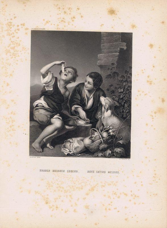 Фото - Гравюра Уильям Френч Мальчики, поедающие фрукты. Офорт. США, Бостон, 1873 год гравюра уильям френч мадонна в зелени офорт сша бостон 1873 год