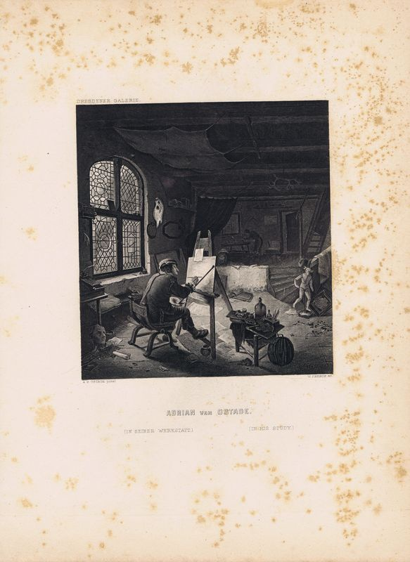 Фото - Гравюра Уильям Френч Адриан ван Остаде в своей студии. Офорт. США, Бостон, 1873 год гравюра уильям френч мадонна в зелени офорт сша бостон 1873 год