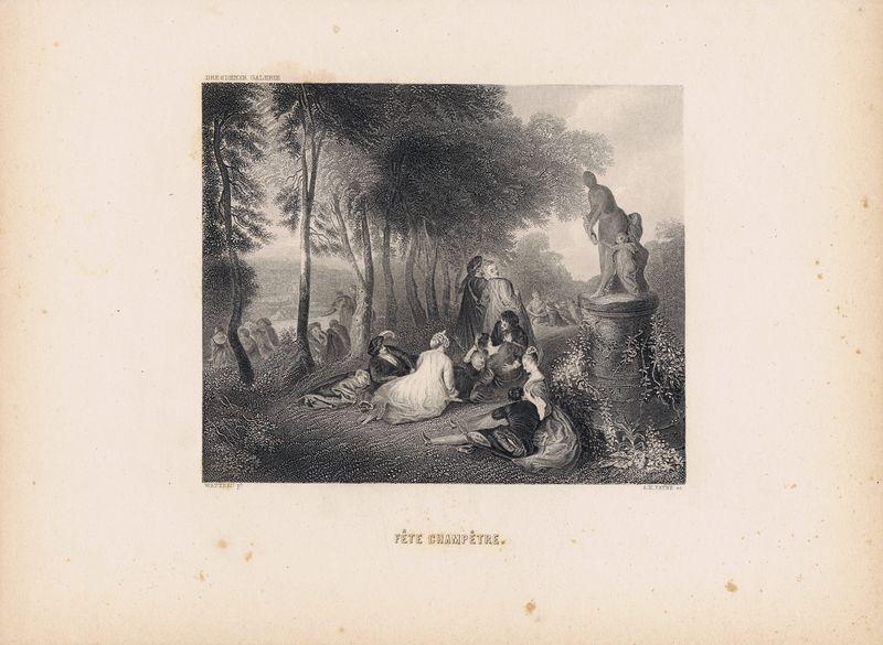 Фото - Гравюра Альберт Генри Пейн Загородный праздник. Офорт. США, Бостон, 1873 год гравюра уильям френч мадонна в зелени офорт сша бостон 1873 год