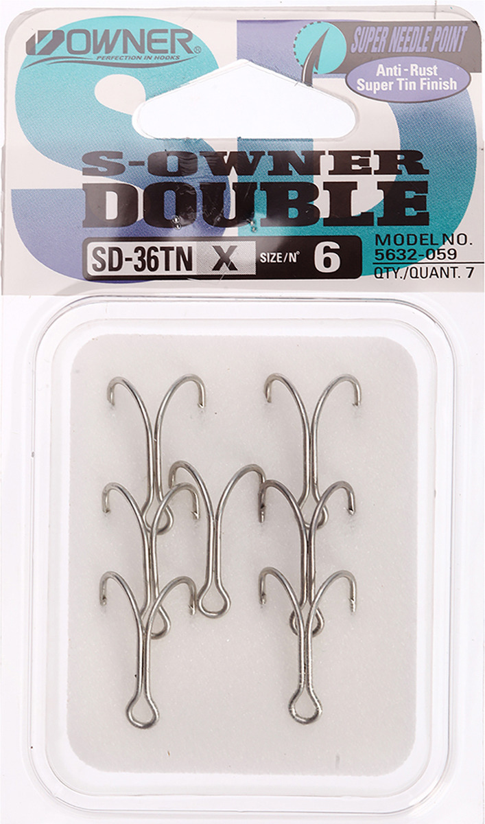 Крючок рыболовный Owner, двойной, SD-36 TN №6, 3120692, 7 шт