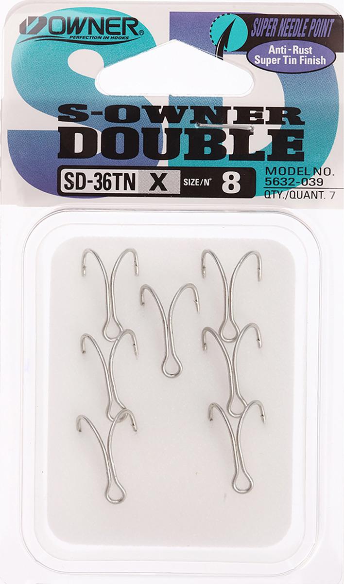 Крючок рыболовный Owner, двойной, SD-36 TN №8, 3120693, 7 шт
