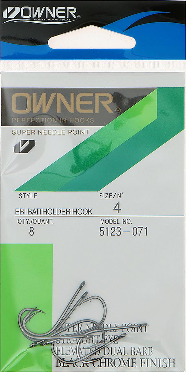 Крючок рыболовный Owner 5123 №4, с зубцами, 3465003, 8 шт