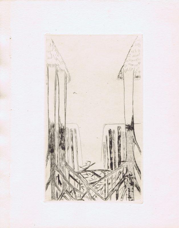 Гравюра Наталья Гончарова Лист 1. Авангард. Офорт. Франция, Париж, 1926 год