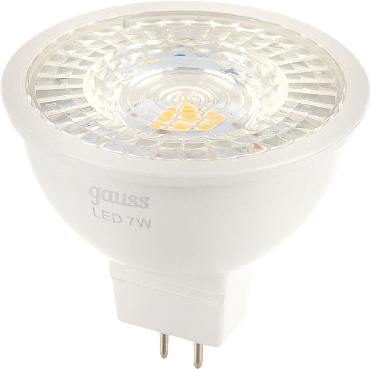Лампа светодиодная Gauss MR16, цвет: белый, 7Вт, 4100К, GU5.3, 630лм, 150-265В. 101505207 лампа светодиодная gauss ld53126