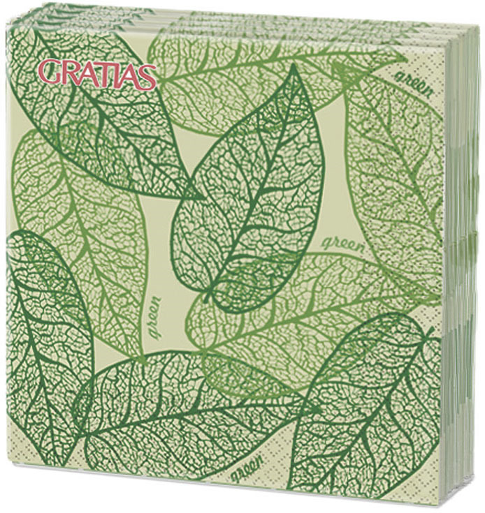 Салфетки бумажные Gratias Грин, трехслойные, 33 х 33 см, 12 шт салфетки бумажные gratias мишутка трехслойные 33 х 33 см 20 шт