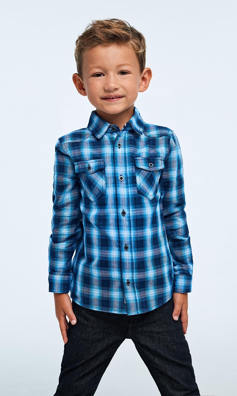Рубашка Infunt рубашка с капюшоном в клетку синяя in extenso