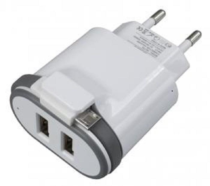 Зарядное устройство Navitoch microUSB + 2хUSB порта 2A, белый зарядное устройство iqfuture ультракомпактное с двумя usb портами для iphone ipod iq dac01 белый
