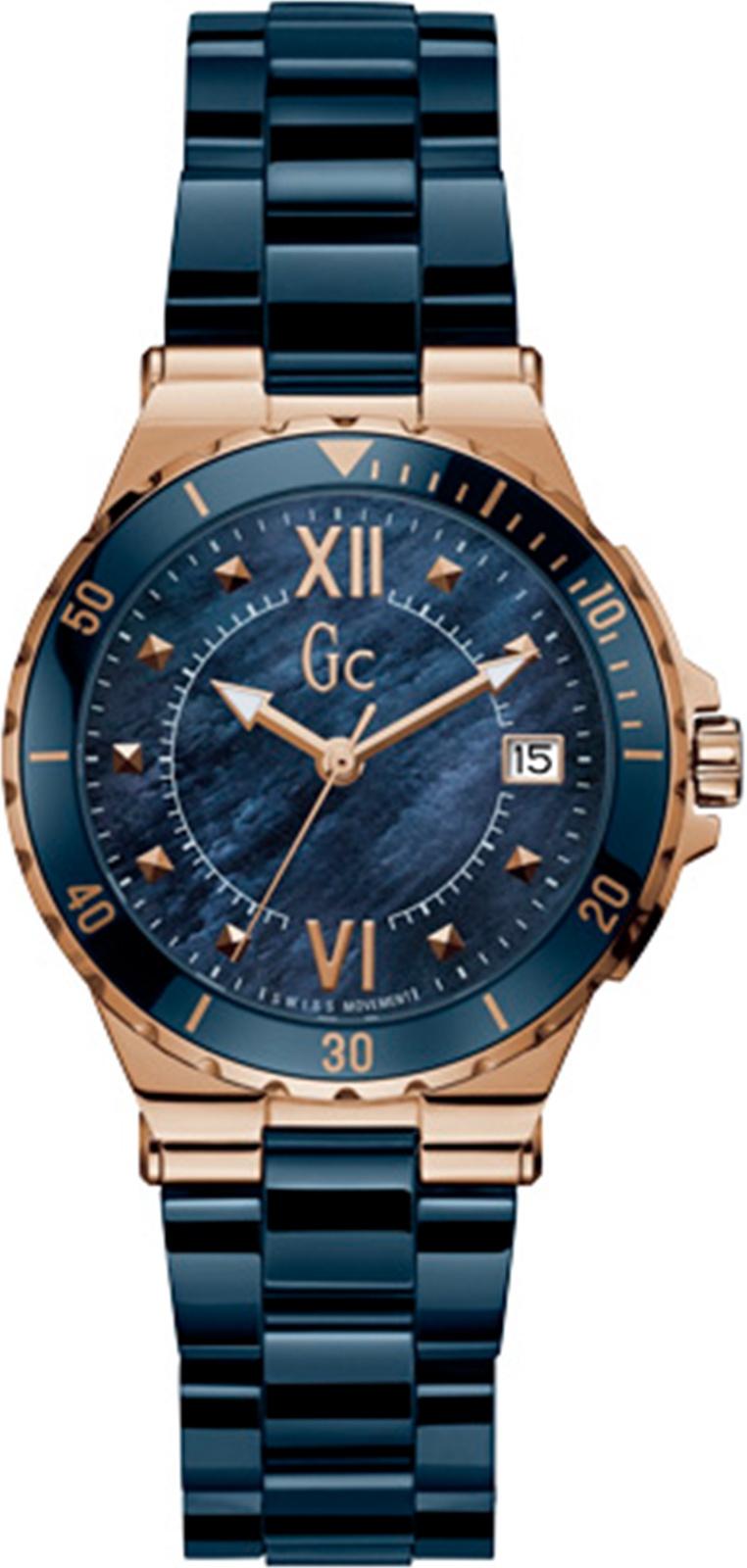 Часы GC Structura Ceramic, синий, темно-синий, золотой