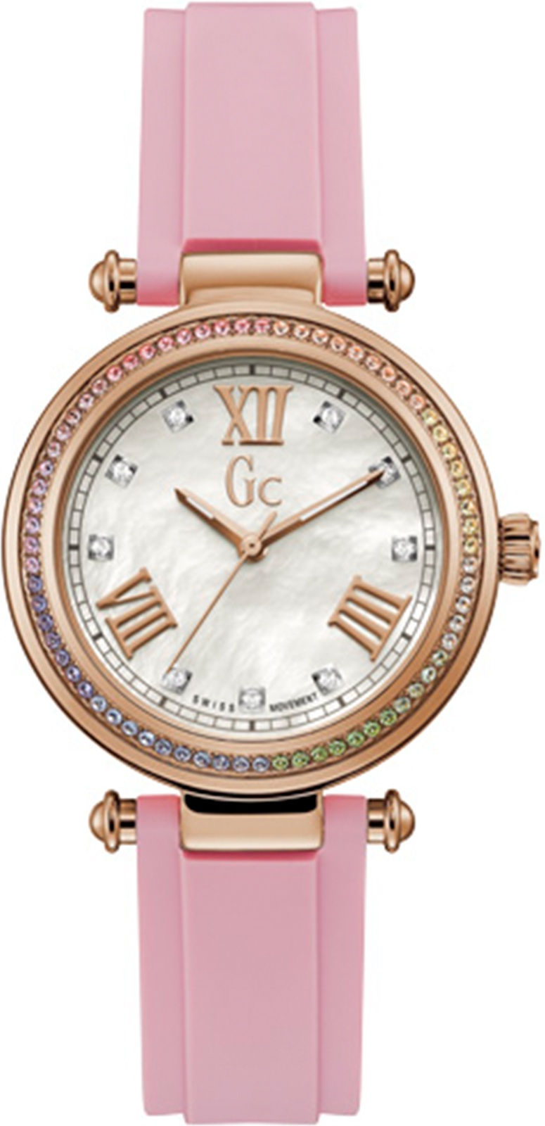 Часы GC PrimeChic, розовый, золотойY46004L1MFШвейцарский механизм - корпус с PVD покрытием розовое золото - Bezel w/ Pastel Swarovski crystals - Белый циферблат из натурального перламутра - ? 36.5 mm - Розовый силиконовый ремень - минеральное стекло с сапфировым напылением