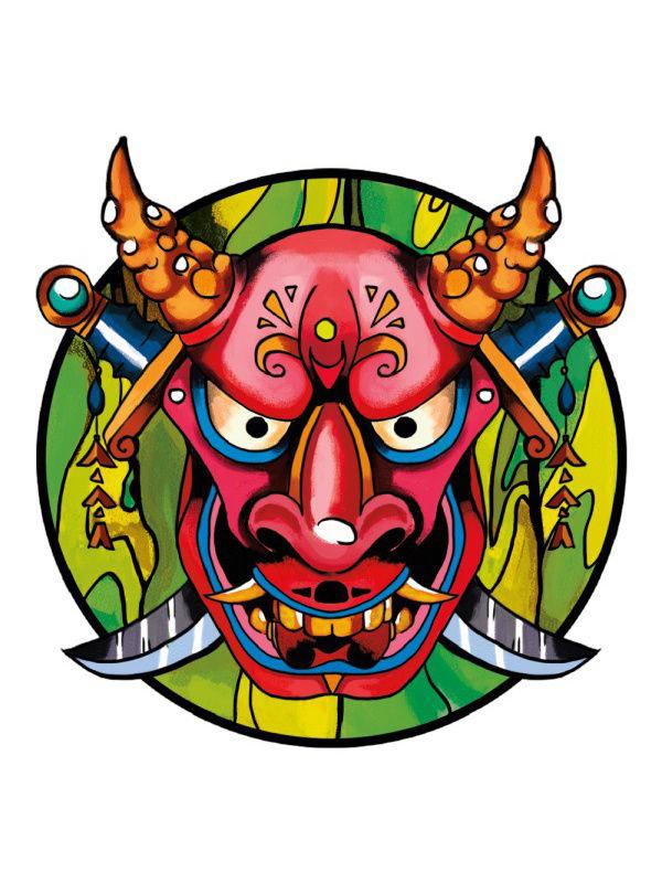 Значок MneZnachok Маска самурая, Металл