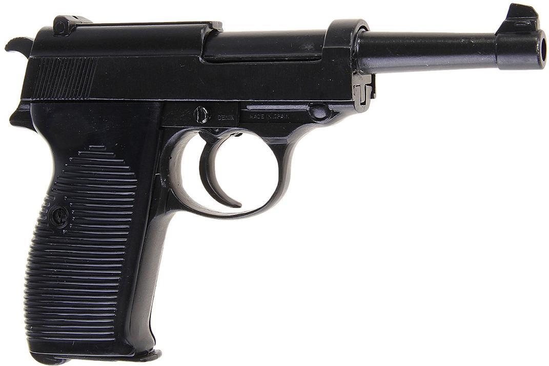 Сувенирное оружие Denix Макет автоматического пистолета Вальтер, 9 мм, Германия (II МВ), 15 ? 4 ? 24 см120695Реальная копия этого макета была произведена еще в 1938 году в стране Третьего рейха и участвовала во Второй мировой войне. Такая находка как макет автоматического пистолета Вальтер, 9 мм, Германия (II МВ) обязательно понравится коллекционерам и ценителям истории. Он выполнен испанскими мастерами фабрики Denix из металлического сплава цинка и алюминия, поэтому взяв его в руку, вы сразу ощутите его размеры. Внимание: это коллекционный макет, который не предназначен для сборки и разборки на детали. При нажатии на спусковой крючок издает щелчок.