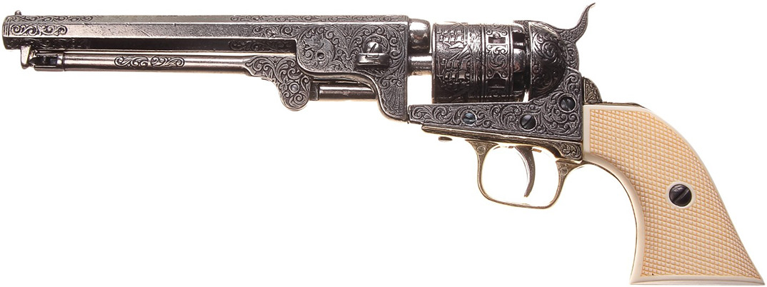 Сувенирное оружие Denix Макет револьвера Кольт Colt Navy для ВМС, 44 мм, Америка, 1851 г., 39 ? 12,5 4 см