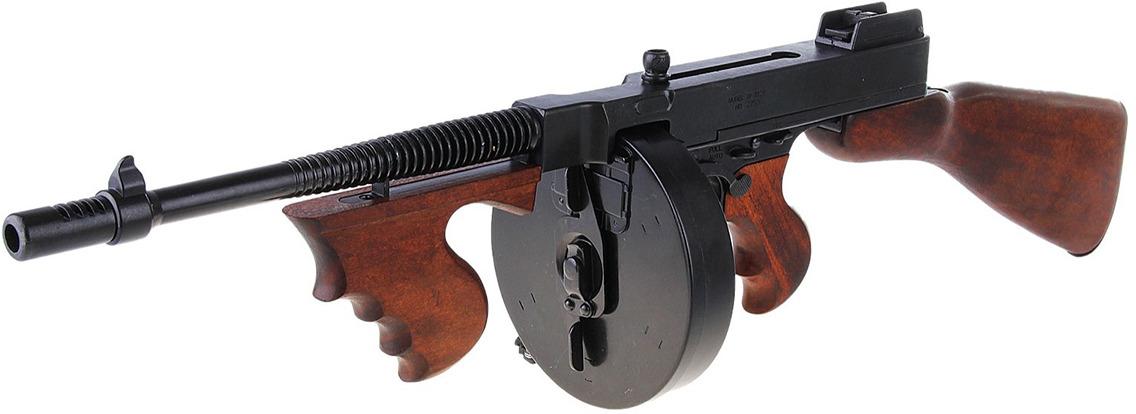 Сувенирное оружие Denix Макет пистолета-пулемета Томпсон Tommy-Gun M1928, 45 мм, Америка, 1920 г., 21 ? 106 ? 25 см
