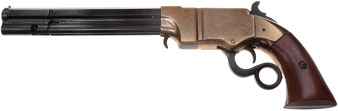 Сувенирное оружие Denix Макет многозарядного пистолета Volcanic, 38 мм, Америка, 1854 г., 38 ? 5 ? 12,5 см