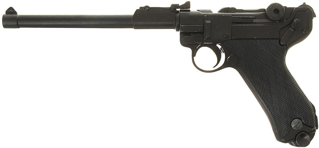 Сувенирное оружие Denix Макет пистолета Люгера Парабеллум P08, удлиненный, 9 мм, Германия, 1900 г., 15 ? 4 ? 33 см