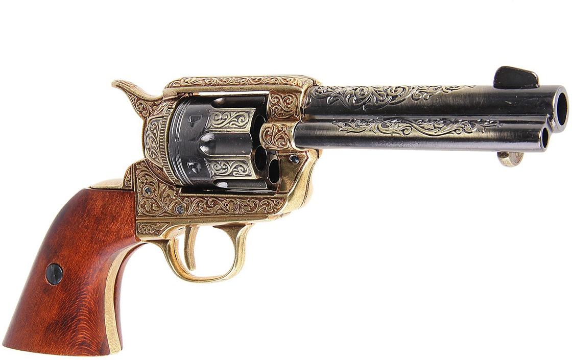 Сувенирное оружие Denix Макет револьвера Кольт The Frontier, 45 мм, 1886 г., 11 ? 29 ? 29 см