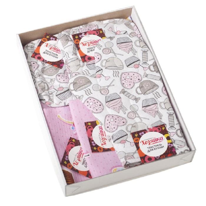 """Комплект для кухни ТК Традиция 8 предметов, светло-розовый3943/Французский десертНабор для кухни """"Весеннее ретро"""" из 8-ми предметов, выполнен из 100 % хлопка. Изделия практичны и просты в уходе. В состав набора входит: изделия из бязи пл. 125 гр./кв.м.: стеганая рукавичка- прихватка 30х17 - 1 шт., прихватка-сердце 16х20 см - 2 шт, текстильная ваза 18х18 - 1шт.; изделия из вафельного полотна пл. 165 гр./кв.м.: полотенце с окантовкой 35х60 см - 1 шт; полотенце 45х60 купон - 2 шт. Бязь - хлопчатобумажная плотная ткань, обладает износостойкостью, низкой сминаемостью. Вафельное полотно отличается высокой впитываемостью и износоустойчивостью. Оригинальная упаковка - прозрачный пластиковый короб."""