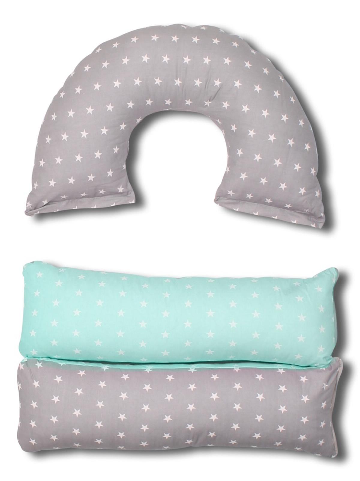 Подушка для кормящих и беременных BODY PILLOW трансформер 5в1 звезды комби, серый