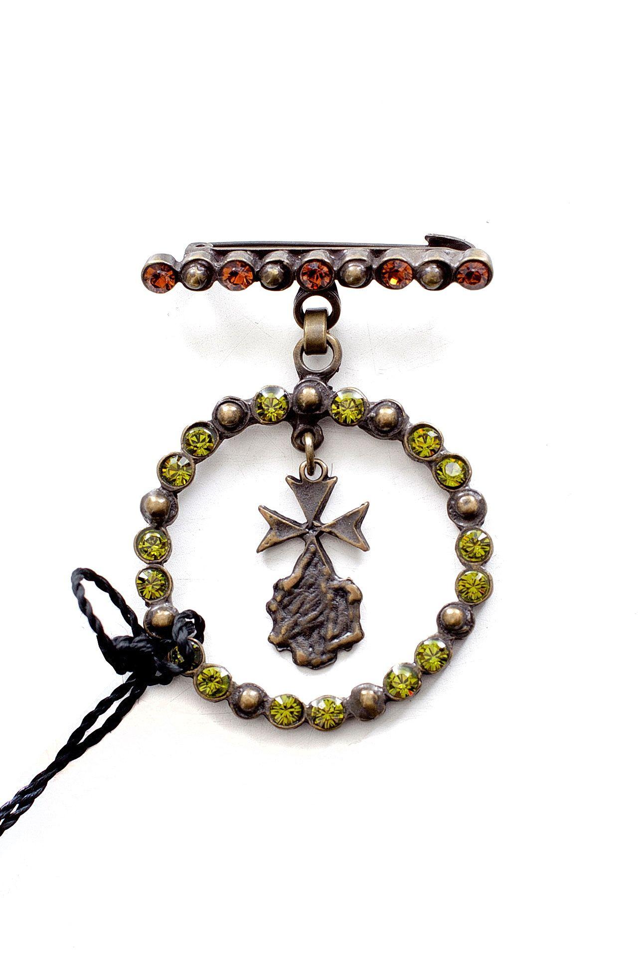 Брошь бижутерная Pinko подвеска крест этнический с символом солнца
