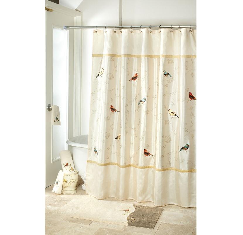 цена Штора для ванной Avanti Gilded Birds, кремовый в интернет-магазинах