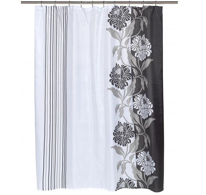 все цены на Штора для ванной Carnation Home Fashions Chelsea, белый, серый онлайн