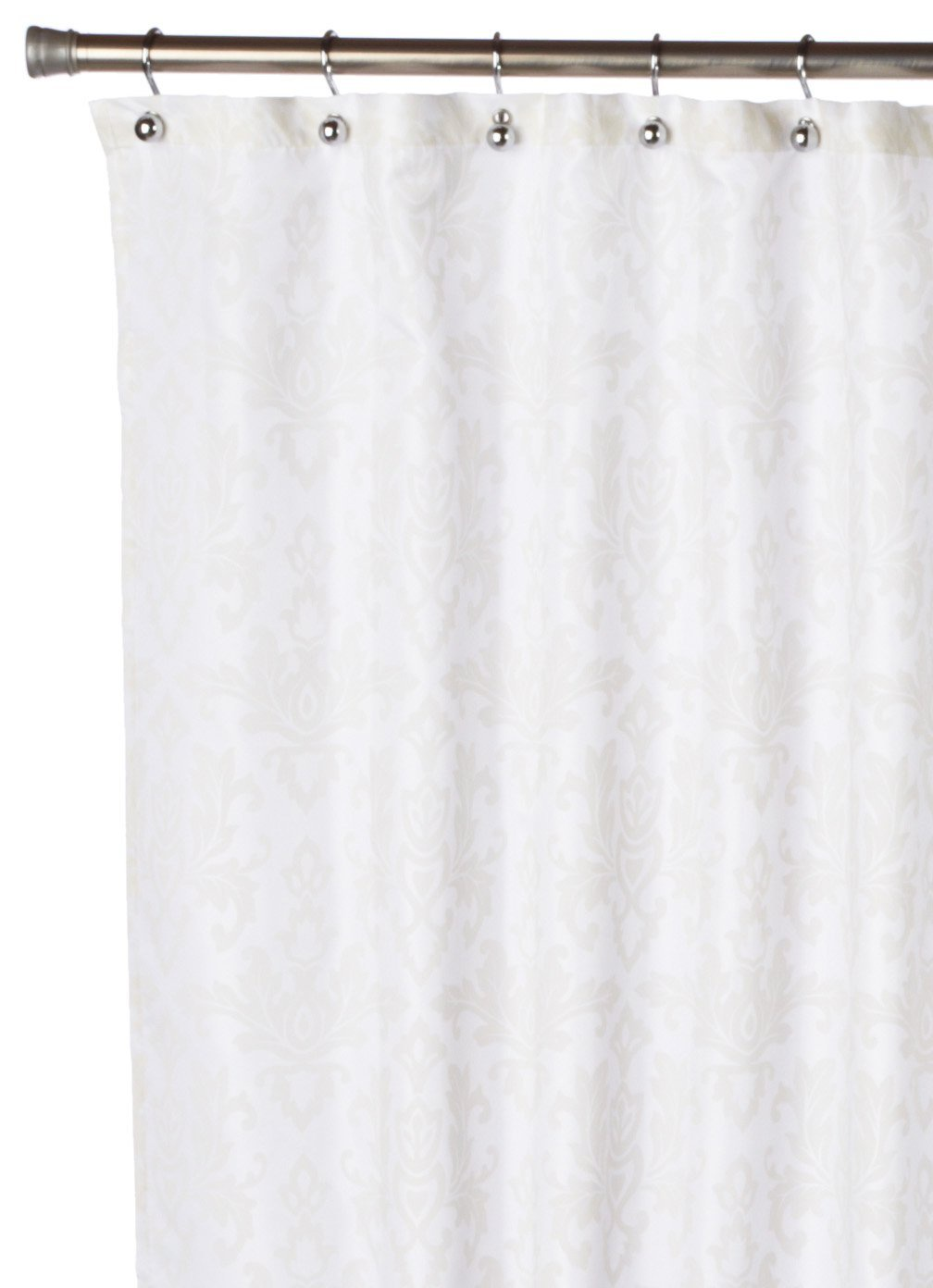все цены на Штора для ванной Carnation Home Fashions Damask Ivory, белый, кремовый онлайн