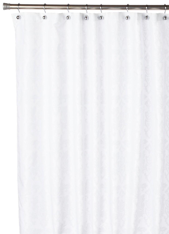 все цены на Штора для ванной Carnation Home Fashions Damask White, белый онлайн