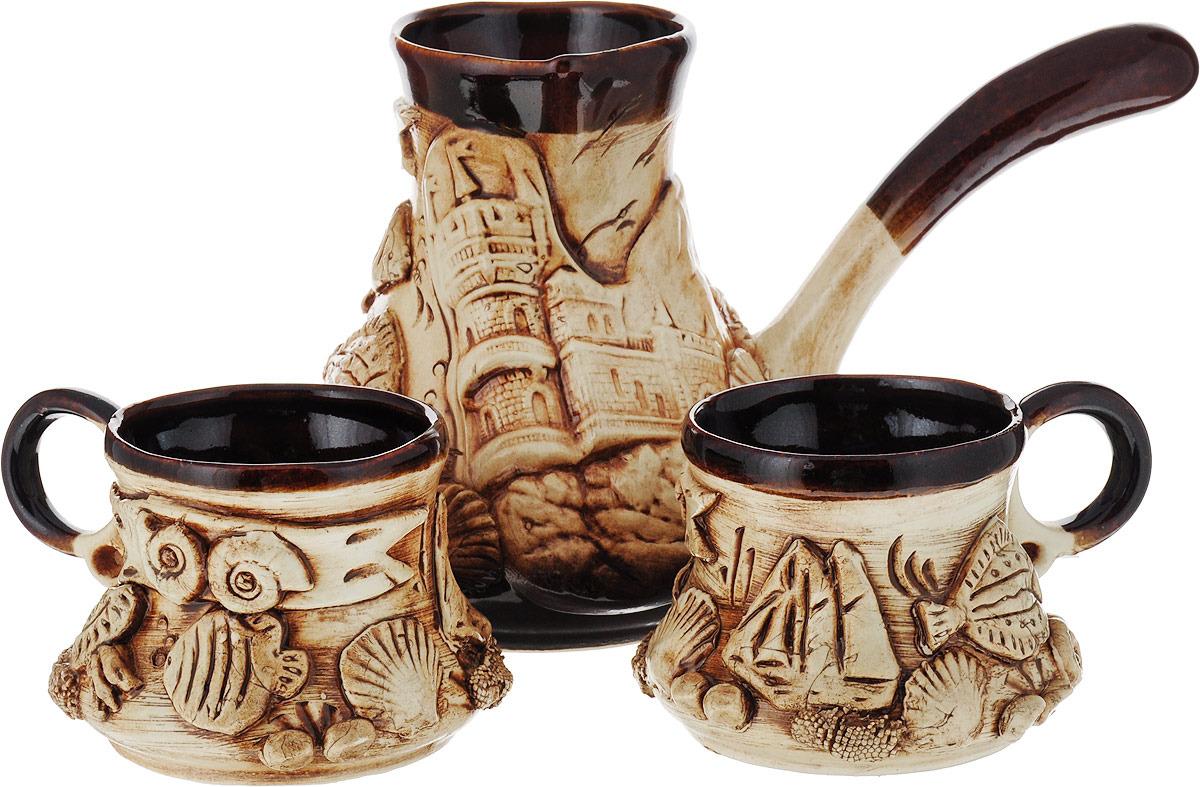 Набор кофейный Керамика ручной работы Лепка, 2772855, 3 предмета набор винный керамика ручной работы ружье 7 предметов