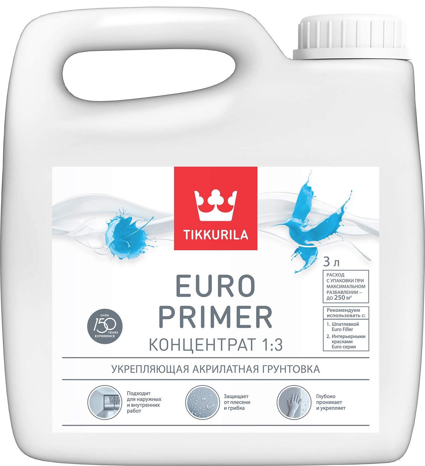 Грунтовка Tikkurila EURO PRIMER 3л цены