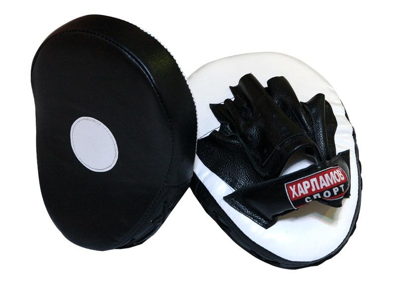 Лапы боксерские Харламов-Спорт Лапы гнутые малые (пара), белый, черный лапы для восточных единоборств outshock боксерские лапы 100 изогнутые