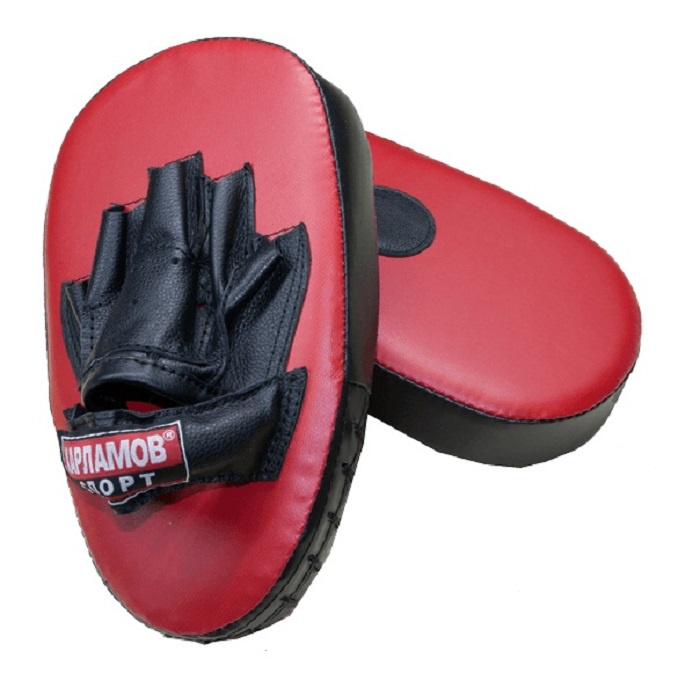 Лапы боксерские Харламов-Спорт прямые (пара), красный, темно-синий лапы боксерские jivisport прямые е049