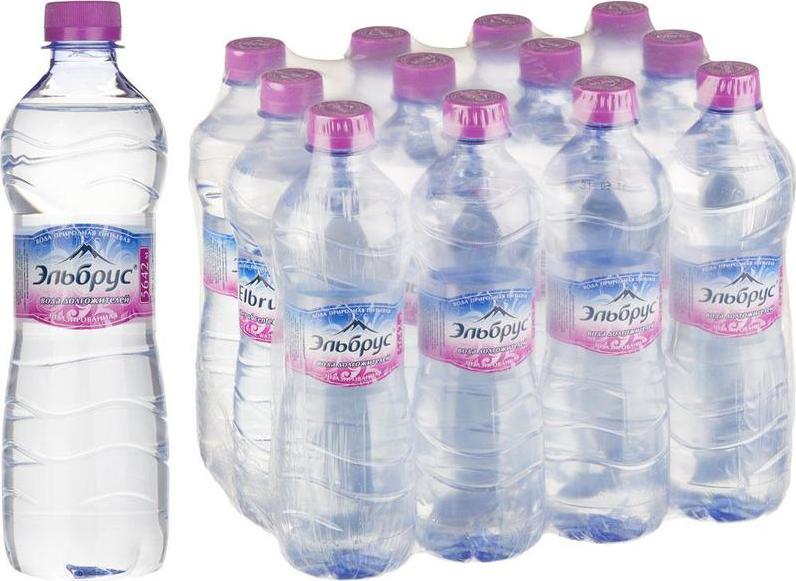 Вода питьевая Эльбрус, минеральная природная столовая негазированная, 12 шт по 500 мл