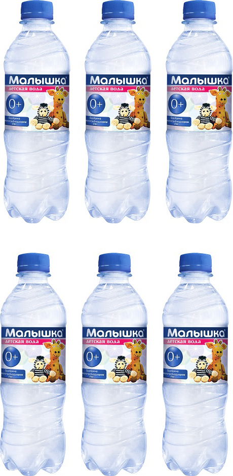 Вода минеральная Малышка, природная питьевая столовая негазированная, 6 шт по 1,5 л вода aquakids детская питьевая с рождения голубая 24 шт по 0 25 л