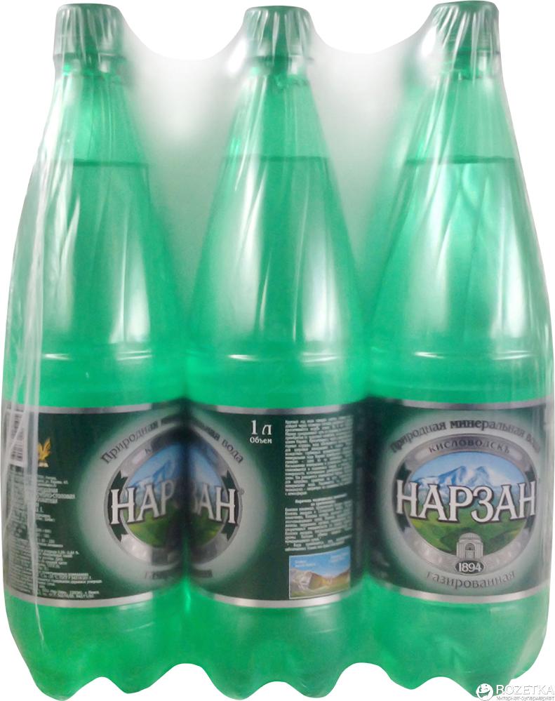 Вода минеральная Нарзан Серебряный газированная, 9 шт по 1 л perrier вода минеральная газированная гидрокарбонатно кальциевая 1 л