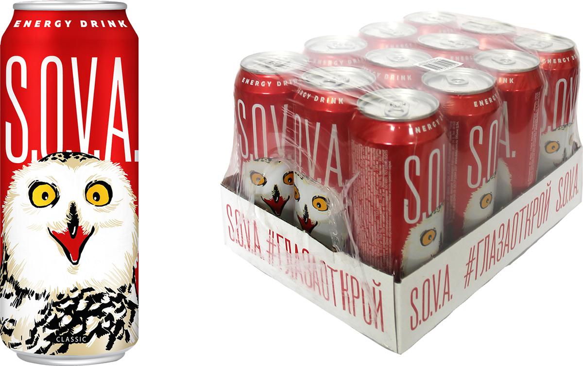 Энергетический напиток S.O.V.A. Classic, 12 шт по 500 мл