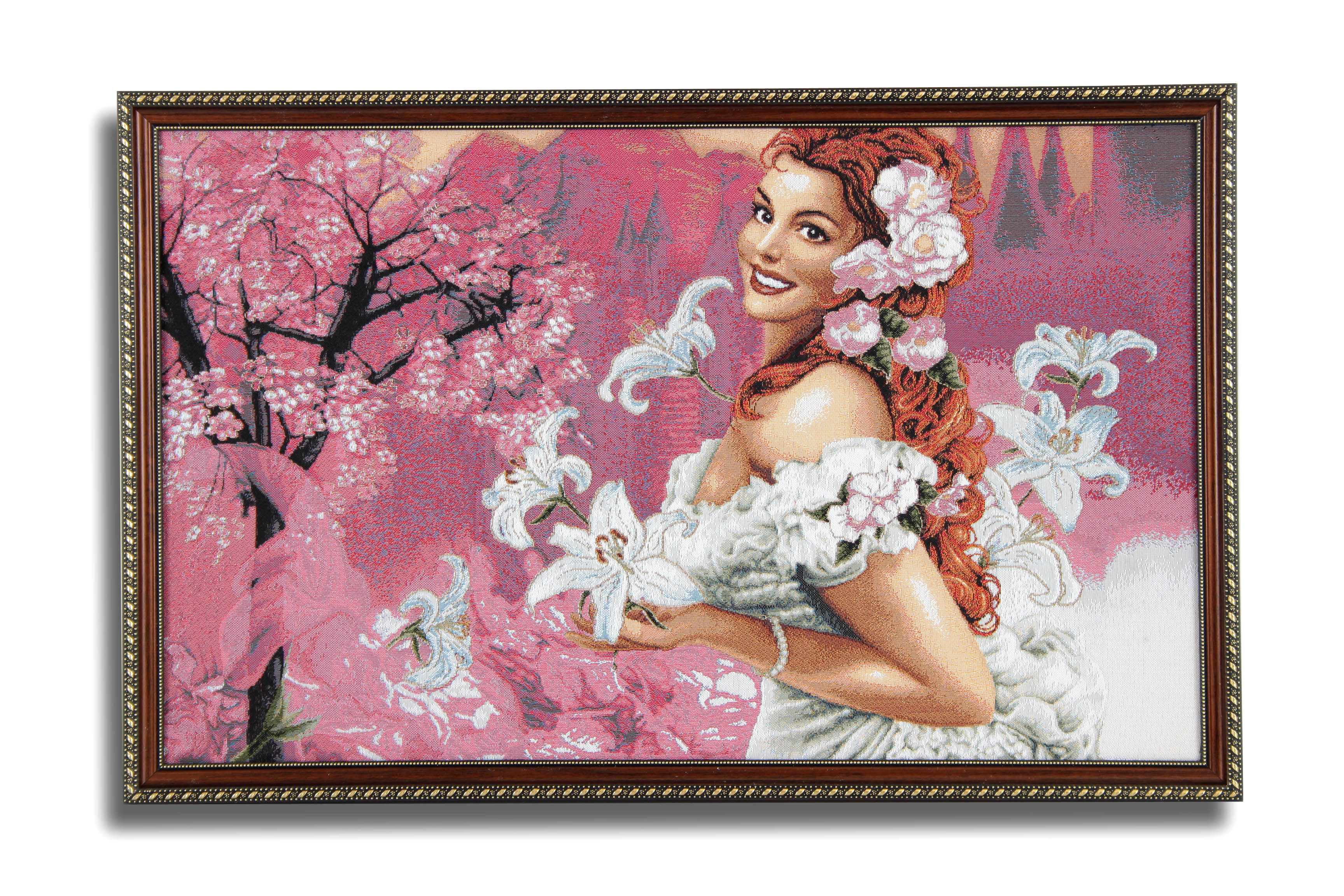Картина Магазин гобеленов Девушка с лилиями 50*77 см, Гобелен