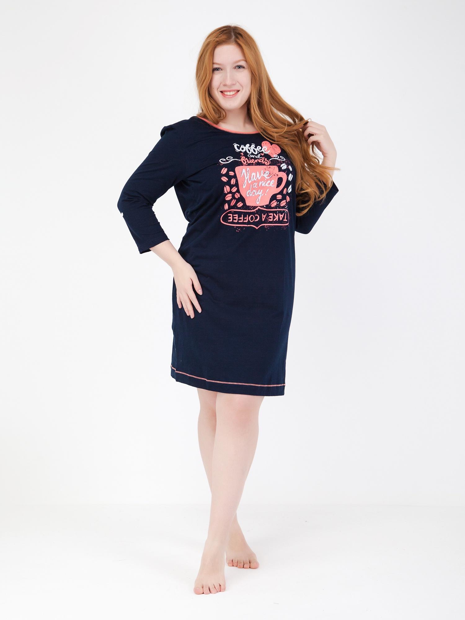 Платье домашнее VoSmae, синий, розовый 46-170/176 размер14589_синий,розовый_46/170-176