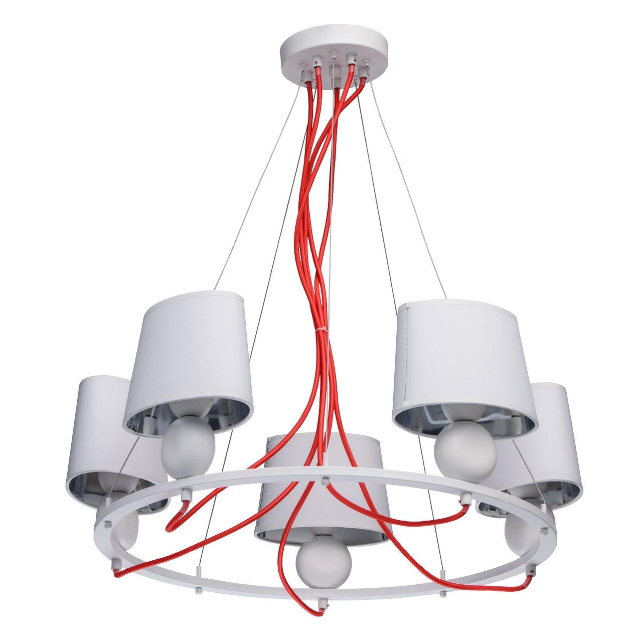 Светильник MW-Light 103011505, белый103011505Светильник выполнен в ультрамодном дизайне. Эффектное сочетание ярко-красного и матового белого цветов позволяет использовать светильник не только как источник света, но и как арт-объект. Абажуры изнутри защищены акриловым покрытием, что увеличивает срок службы светильника. Благодаря специальным тросам есть возможность регулировать положение светильника по отношению к потолку. Наличие бра в семье дает возможность комплексного освещения помещения в одном стиле.