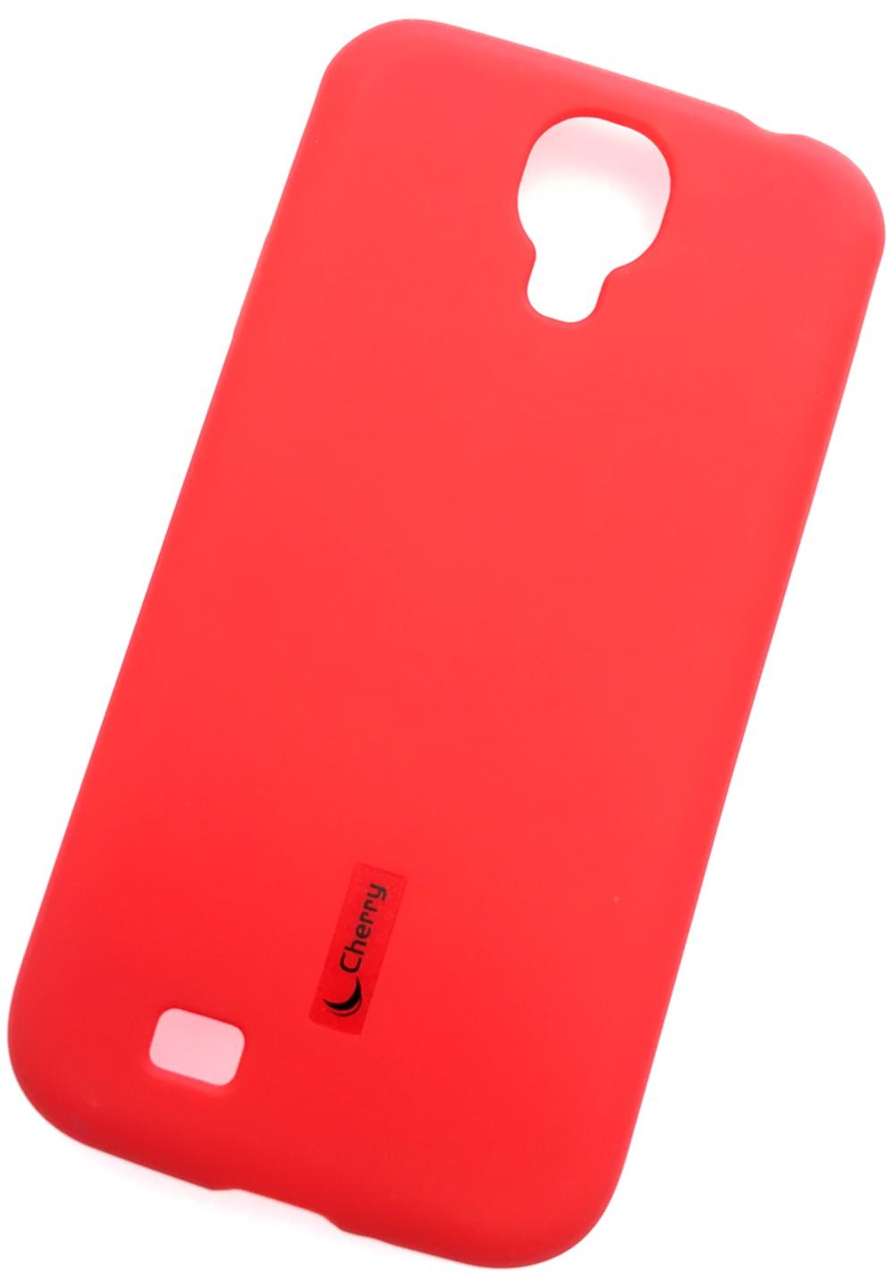 Чехол для сотового телефона Cherry Samsung S4 Накладка резиновая с пленкой на экран, красный