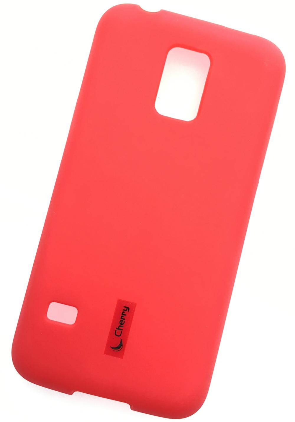 Чехол для сотового телефона Cherry Samsung S5 mini Накладка резиновая с пленкой на экран, красный