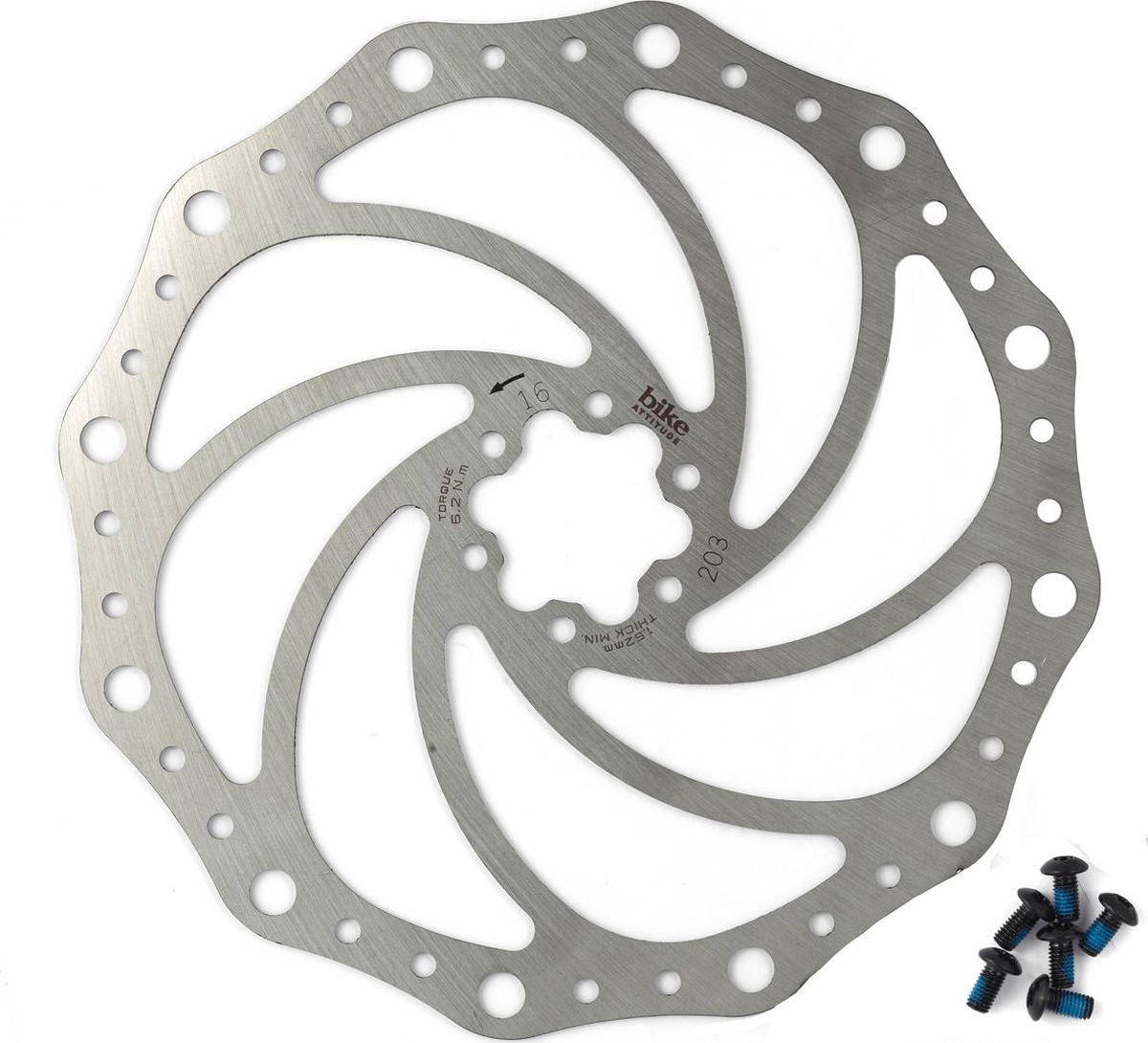 Тормозной диск Bike Attitude, YJ014, серебристый, 203 мм