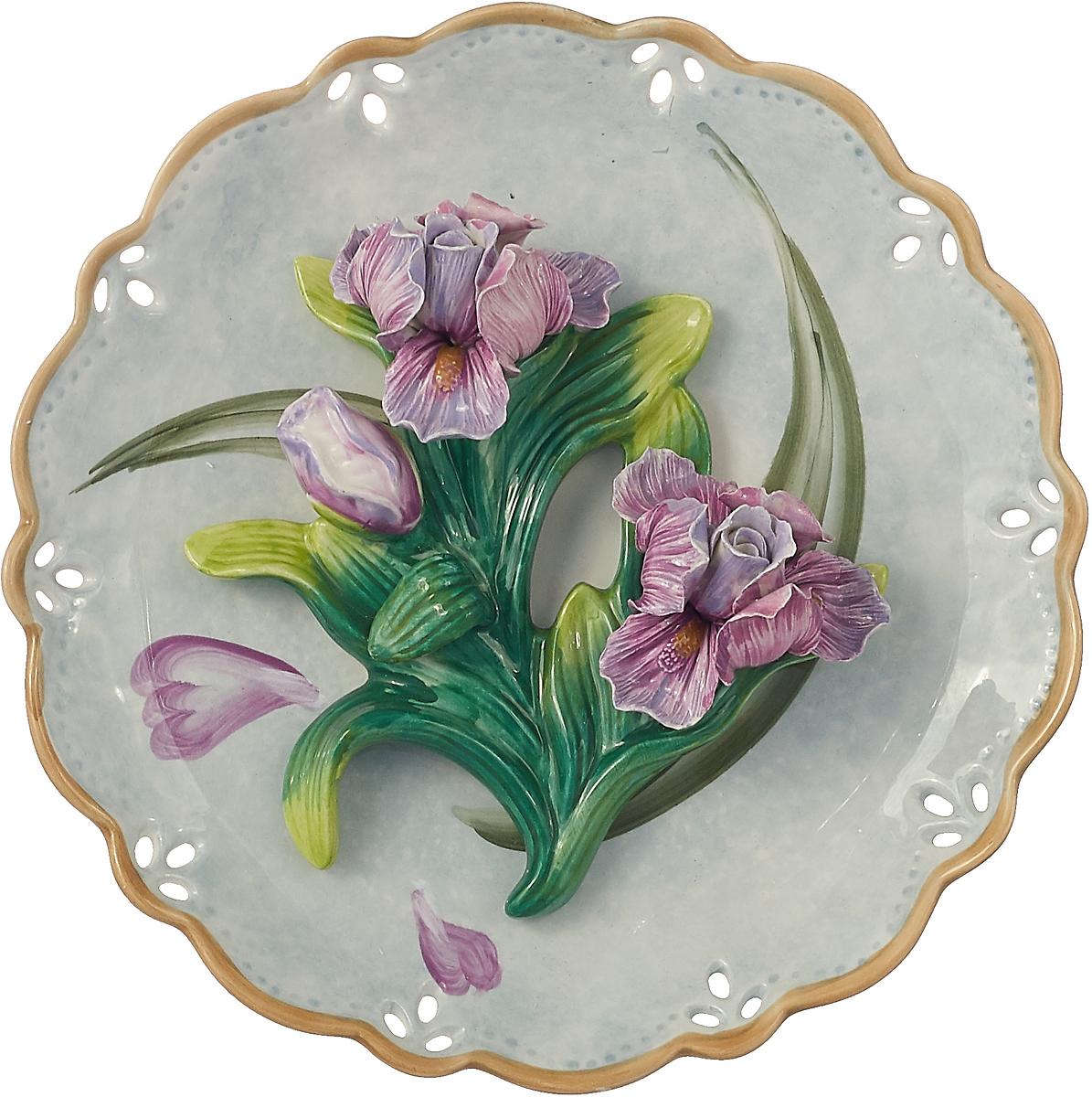 Декоративная тарелка Lefard Ирис, 59-477, голубой, 20 х 20 х 6 см свеча декоративная win max каллы цвет кремовый 6 см х 6 см х 10 см