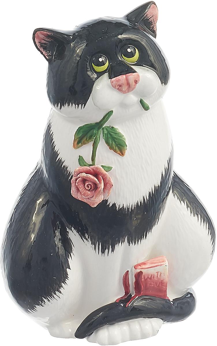 Фигурка декоративная Lefard Кошка с цветком, 59-186, белый, 10 х 7 х 15 см салатник lefard 15 х 15 х 7 см 346 13zkw 6