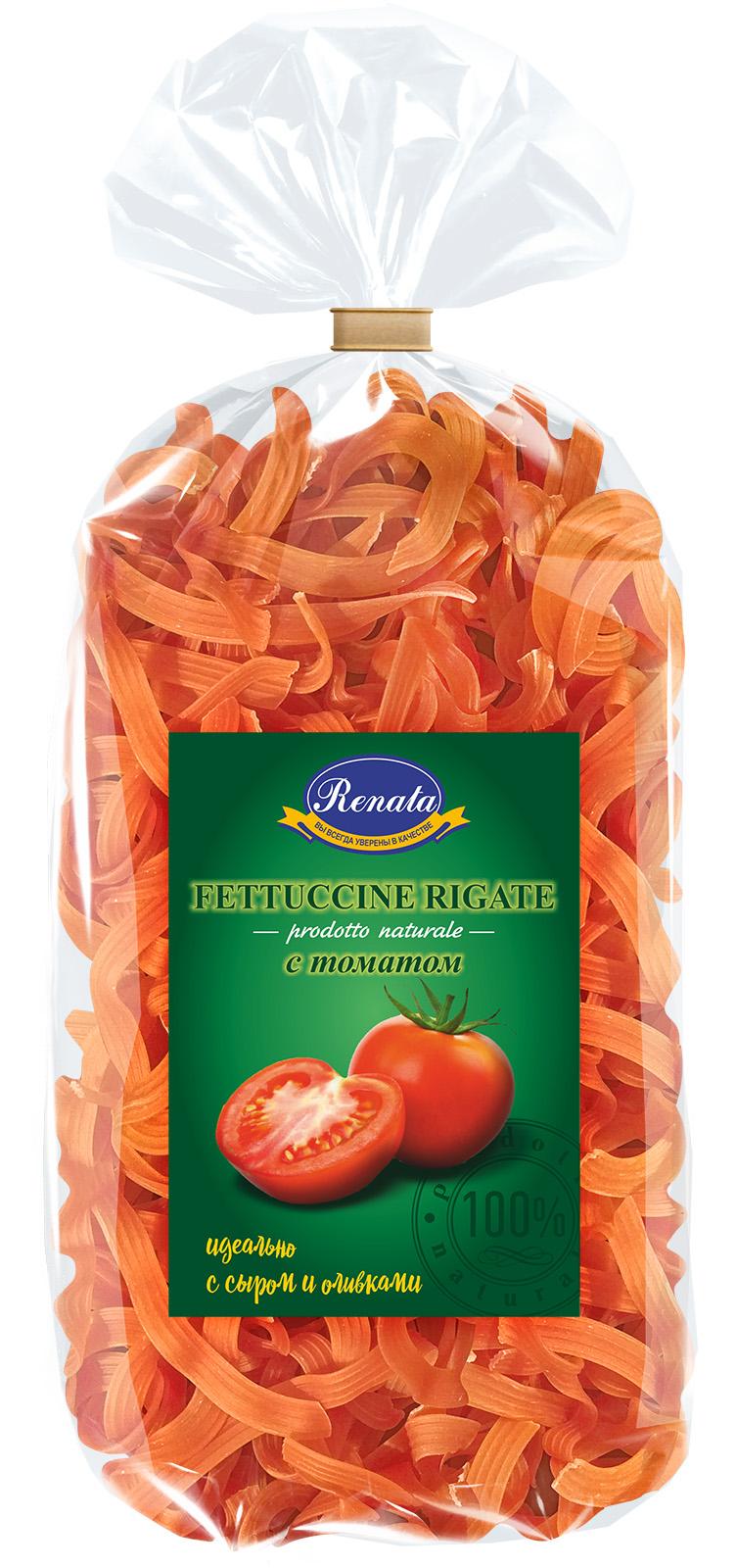 Макароны «Renata» Fettuccine rigate лапша рифленая с томатом, 350