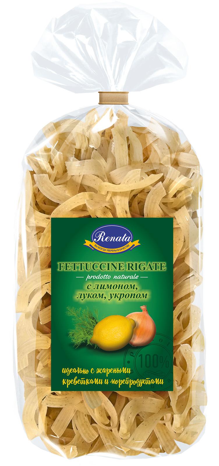 Макароны «Renata» Fettuccine rigate лапша рифленая с лимоном луком и укропом, 350