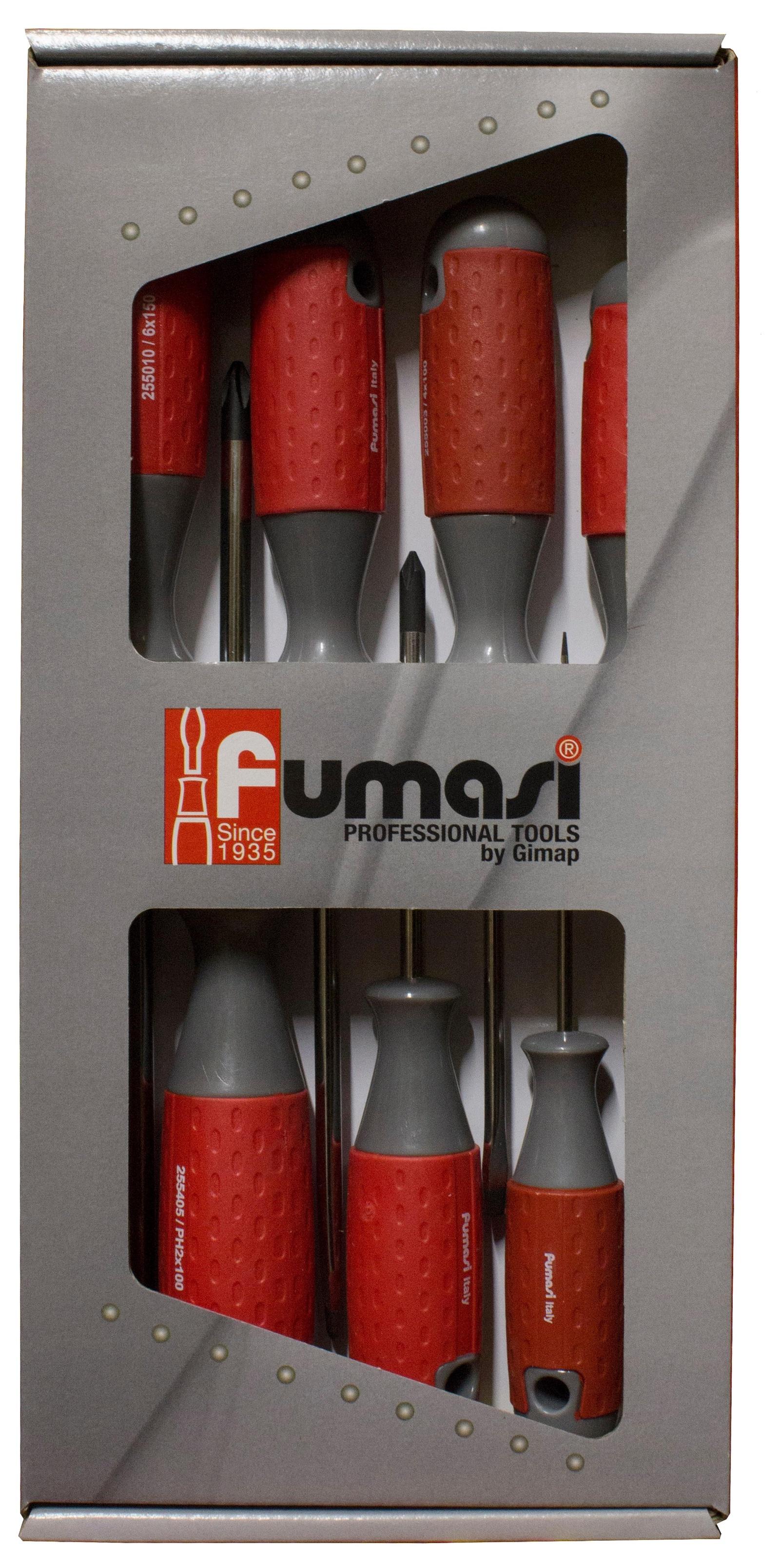 Набор отверток FUMASI 7 шт 104102104102Набор из 7 отверток в картонной коробке.Стержень выполнен из хром-молибдена, рукоять выполнена из высококачественной противоскользящей резины.Состав набора:SL - 0,5*3*75ммSL - 0,6*3*75ммSL - 0,8*4*100ммSL - 1*5*125ммSL - 1,2*6*125ммPH1 - 4,5*80ммPH2 - 6*100 мм