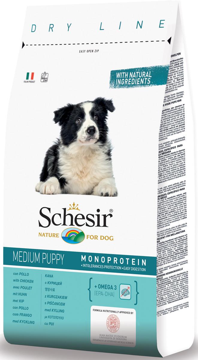 Корм сухой Schesir, для щенков средних пород, с курицей, 12 кг